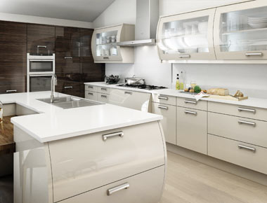 Beige High Gloss Kitchen