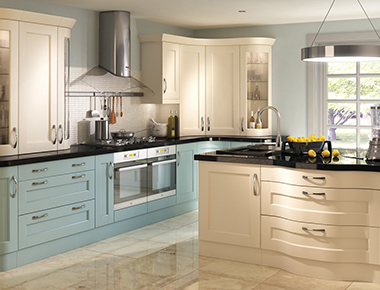 Inframe Kitchen With Units in Cream and Blue