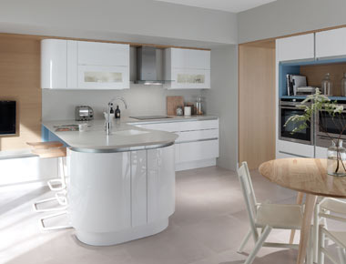 Handleless Kitchen With Curved Units
