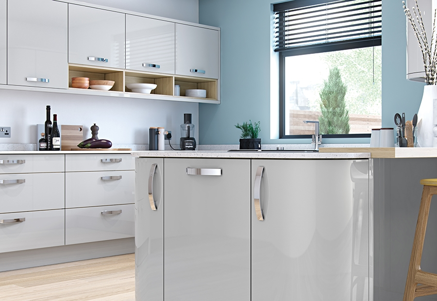 Showcase High Gloss Slab Kitchens, Pale Grey High Gloss Kitchen Units